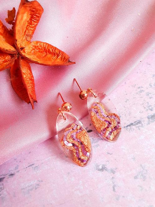 Butterfly Cascade Earrings - rose gold details