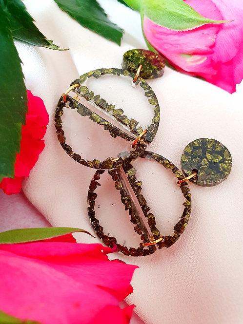 Green sparkly gemstone/resin earrings - hypoallergenic
