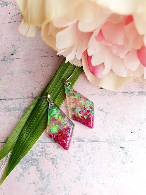 Holographic Glitter Dangle Earrings with rose pink glass