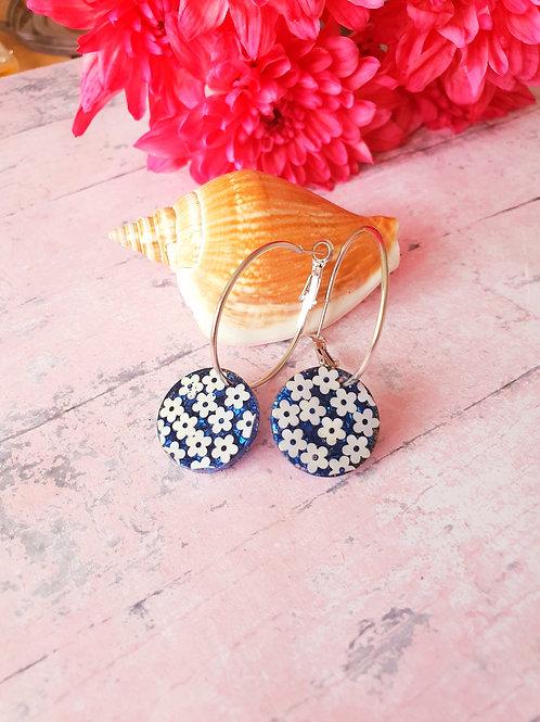 Flower blue circle hoop earrings