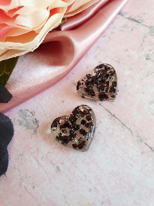 Heart Ear Studs - transparent with black chunky glitter