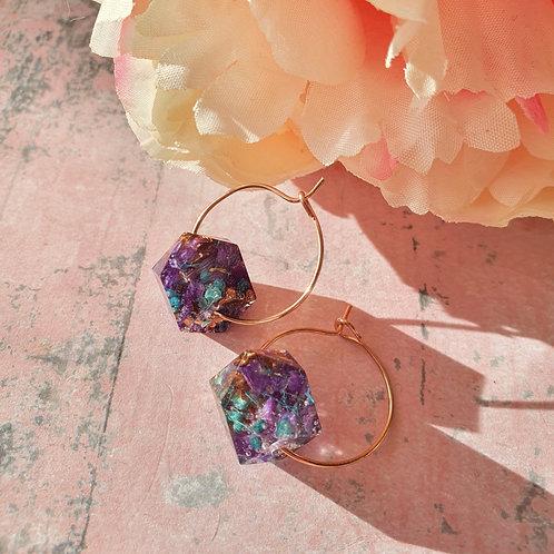 Purple and Blue Flower Beads - Hoop Earrings