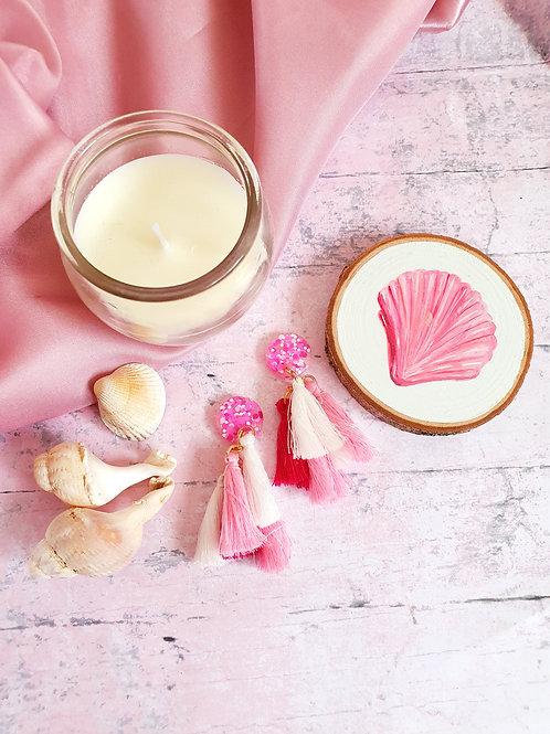 Pink tassel earrings - hypoallergenic