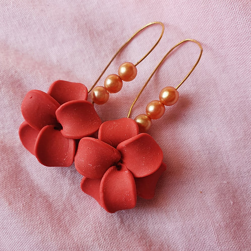 Red flowers on hoops with pearls beads