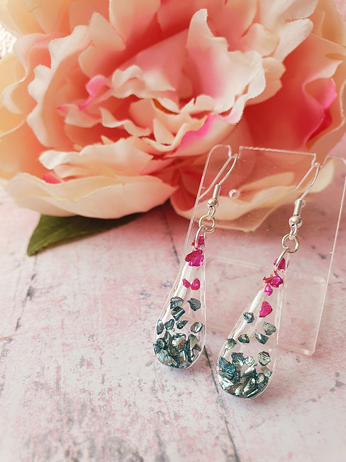 925 Sterling Silver Pink and Green Earrings