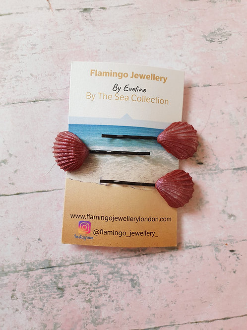 3 piece set of burgundy bronze hair pins
