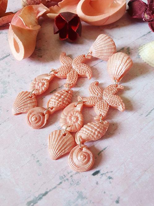 Pear effect statement seashell earrings - hypoallergenic