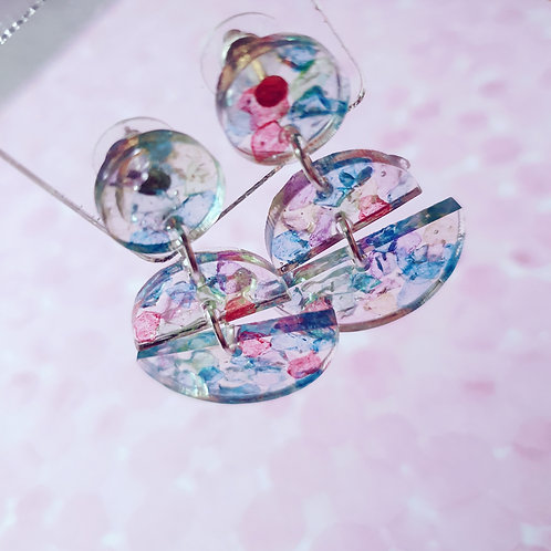 Glass and resin dangles - hypoallergenic
