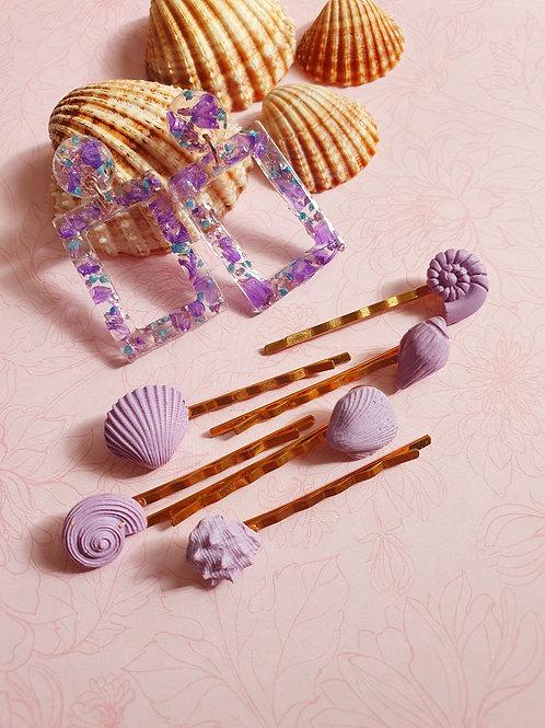 Flower resin earrings with set of seashell hair pins - hypoallergenic