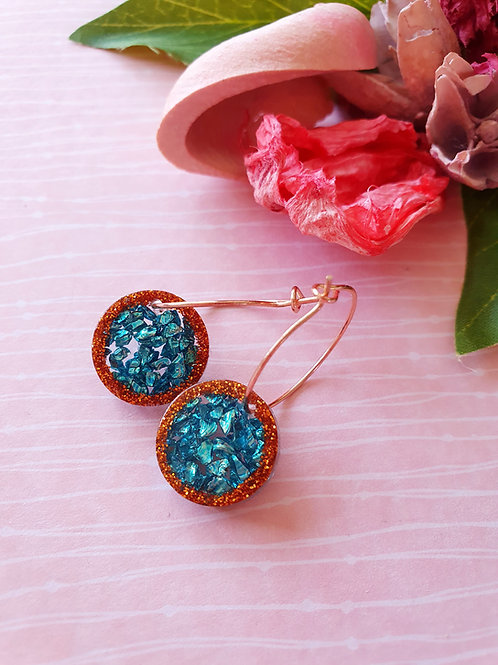Bronze and Teal hoop earrings