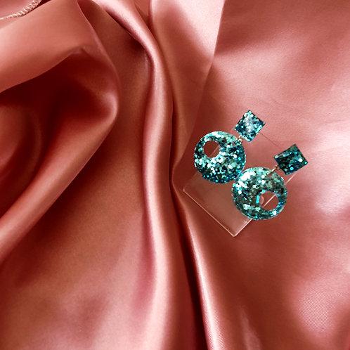 Joanna Earrings in glitter teal green