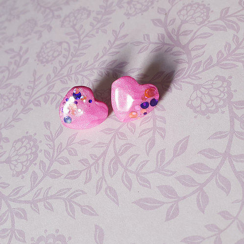 Gloss heart glitter mix ear studs in pink - hypoallergenic