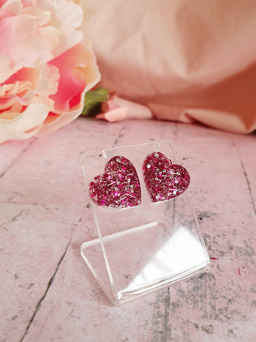 Valentine's Earstuds - burgundy and silver