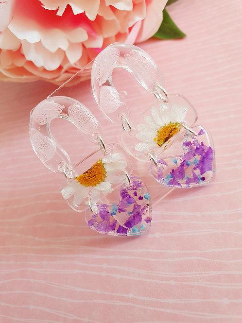 Flowers dangle earrings - 3-tier (hypoallergenic)
