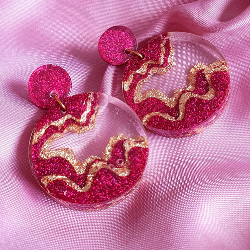Rose pink and gold cascade earrings - hypoallergenic