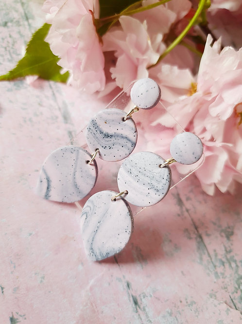 Marble pink and grey earrings