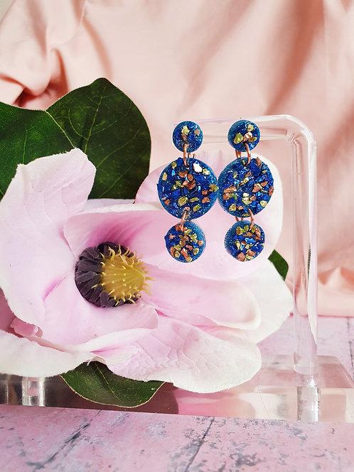 Blue glitter druzy circle earrings - hypoallergenic
