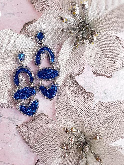 Blue resin and gemstone dangle earrings - hypoallergenic