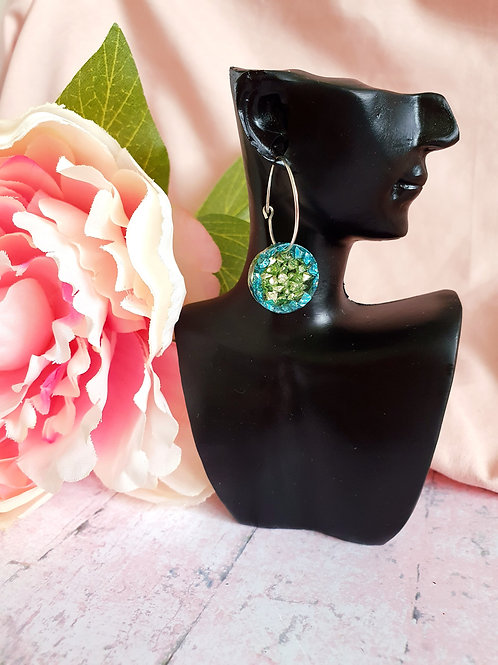 Green and teal sparkly hoop earrings