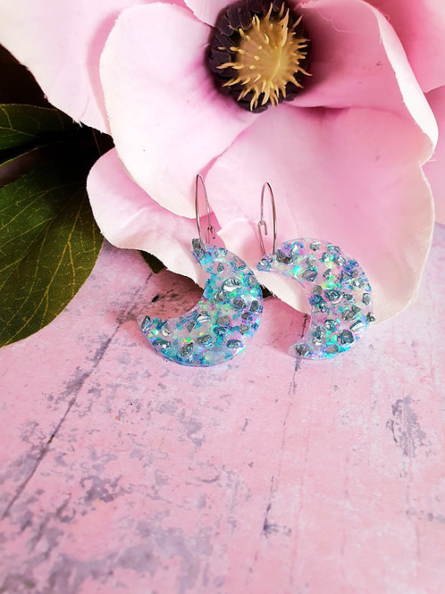 Blue sparkly druzy Moon hoop earrings