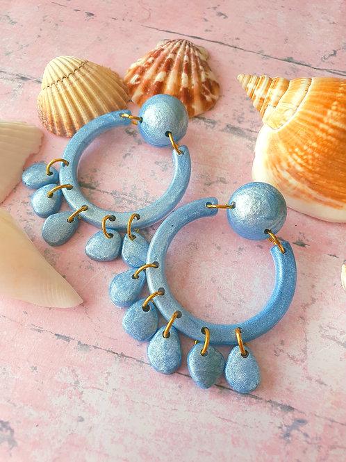 Pearl Blue circle earrings
