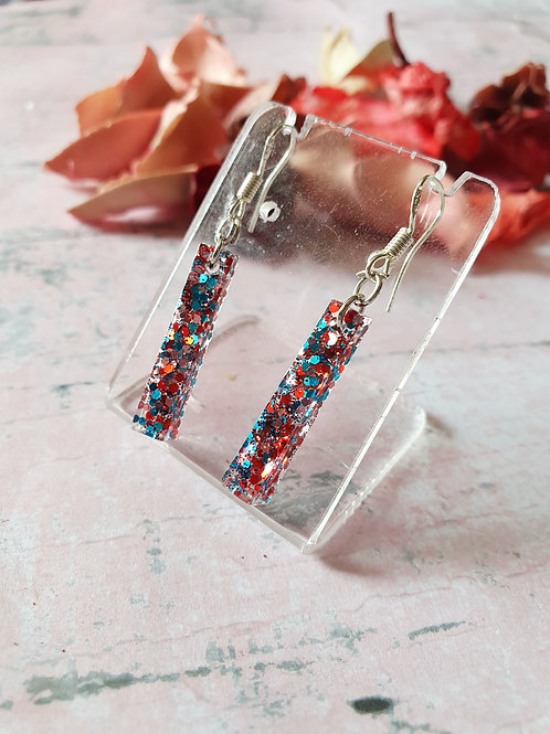 Vibrant glitter dangles in 925 sterling silver