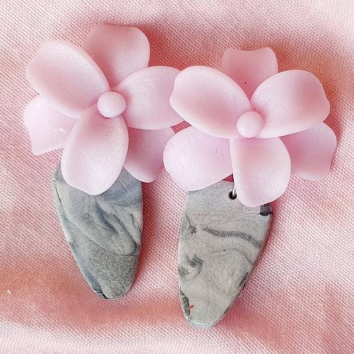 Granite effect dangles with pink gemstone effect flowers
