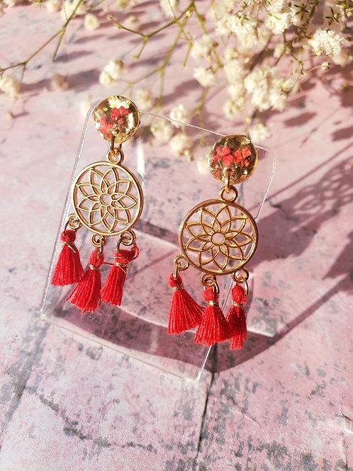 Dream Catcher Earrings - red - hypoallergenic