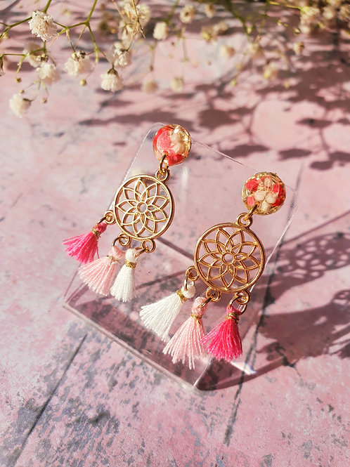 Dream Catcher Earrings - white/pink - hypoallergenic