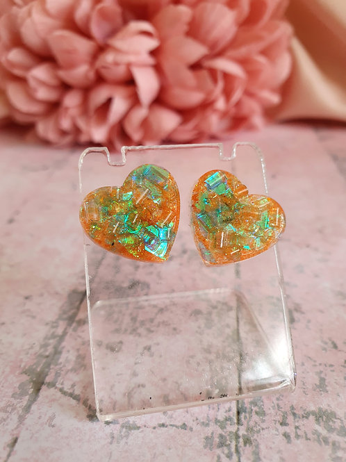 Heart Earstuds - orange/green holo - hypoallergenic