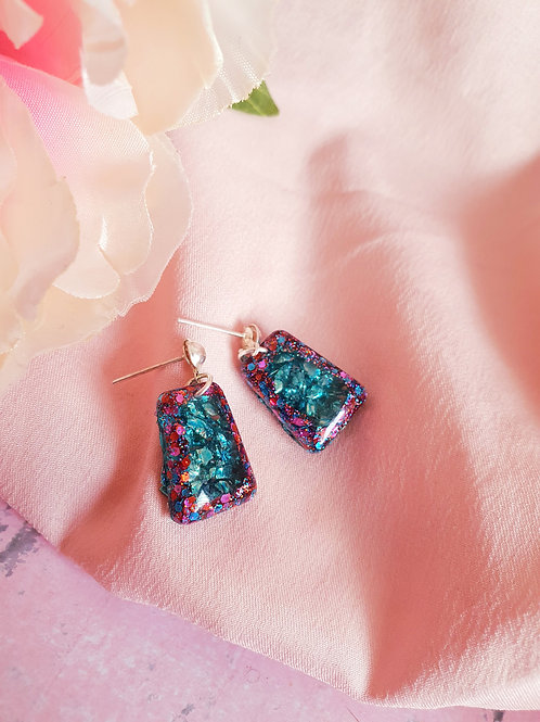 Teal sparkly dangle earrings