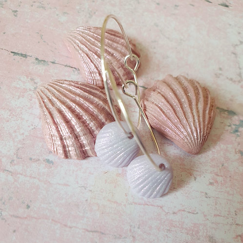 Tiny seashell light liliac seashell hoop earrings