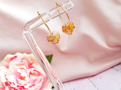Gold glitter and tiny shell heart earrings