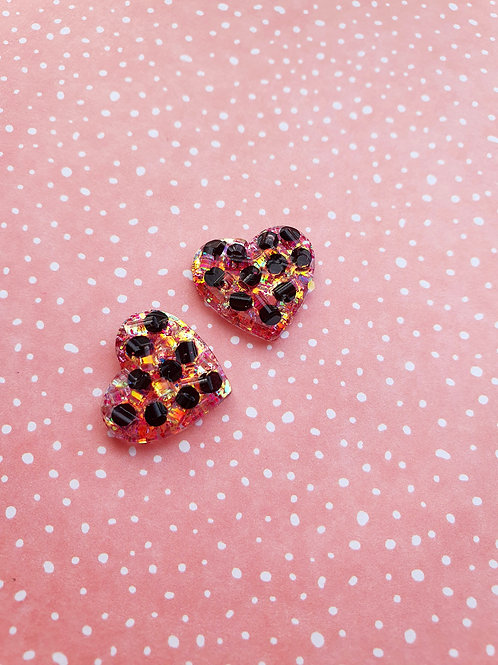 Polka Dots Earrings - holographic red glitter