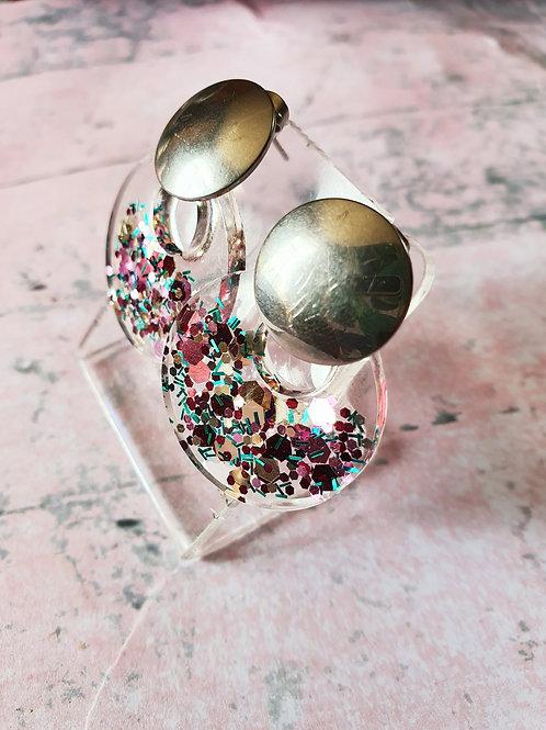 Silver tone resin glitter dangles