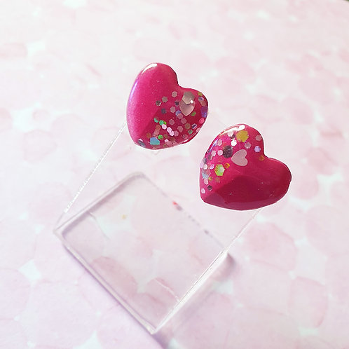 Gloss rose red earstuds - hypoallergenic