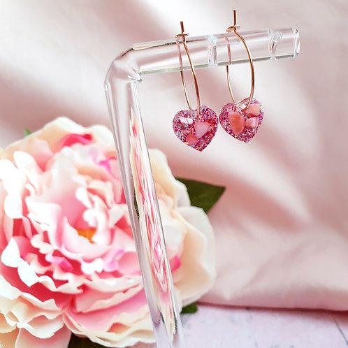 Rose pink glitter and shell heart hoop earrings
