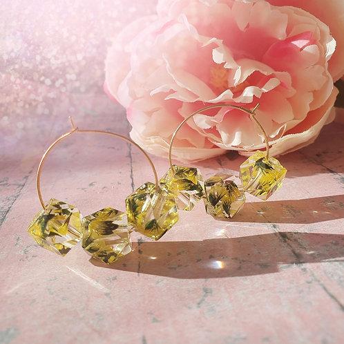 Flower Beads Hoop Earrings