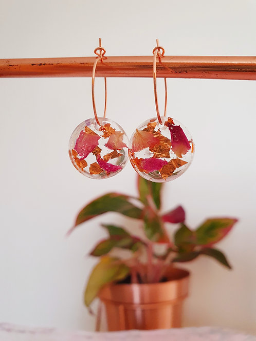 Real rose petals with rose gold leaf - hoop earrings (rose gold colour)