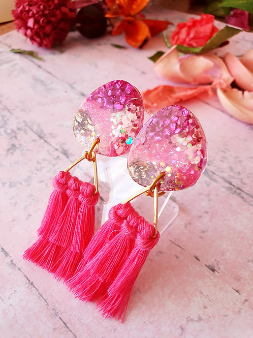 Super extra pink glitter dangles with tassels