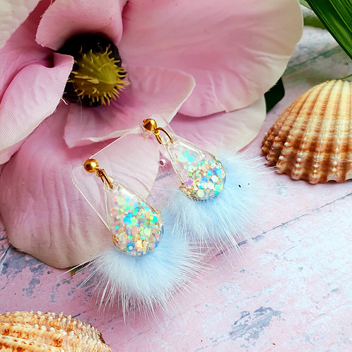 Fluffy dangles in pastel glitter