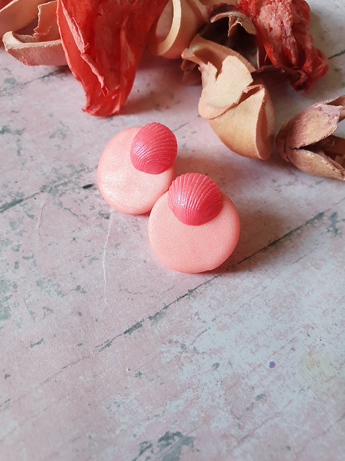 Hot pink pearl effect ear studs - hypoallergenic