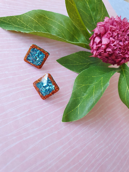 Bronze and Teal square stud earrings
