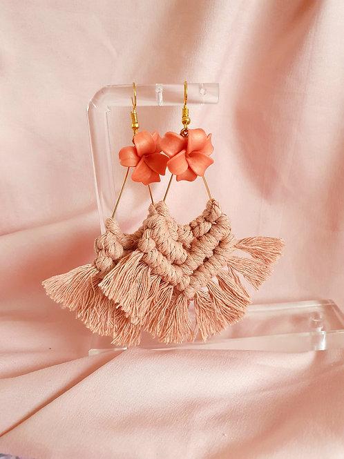 Boho tassel flower earrings