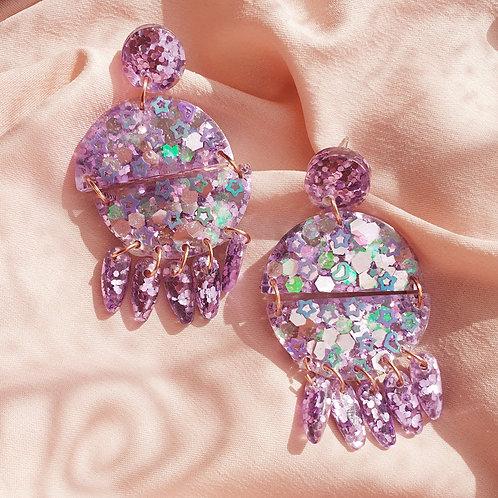 Liliac super glitter dangle earrings - hypoallergenic