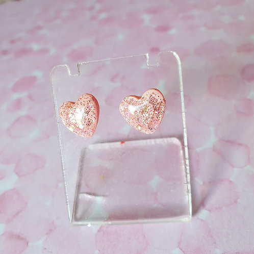 Tiny gloss heart earstuds in baby pink colour - hypoallergenic