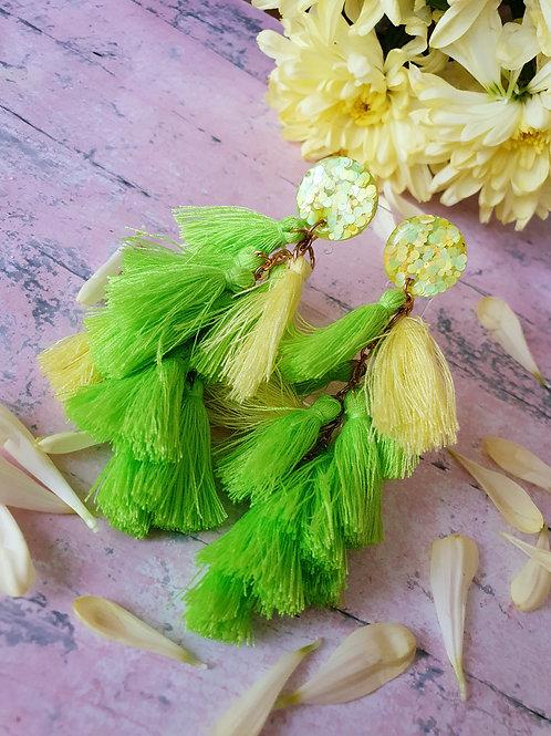 Lemon and Lime Long Tassel Earrings - hypoallergenic