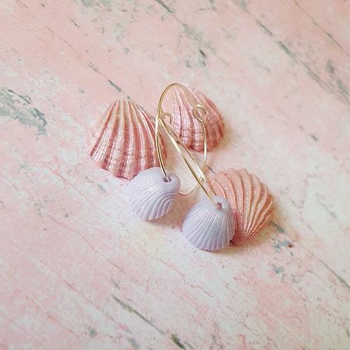Light purple seashell hoop earrings