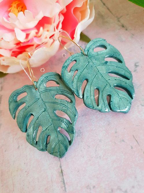 Green shiny Monstera plant hoop earrings