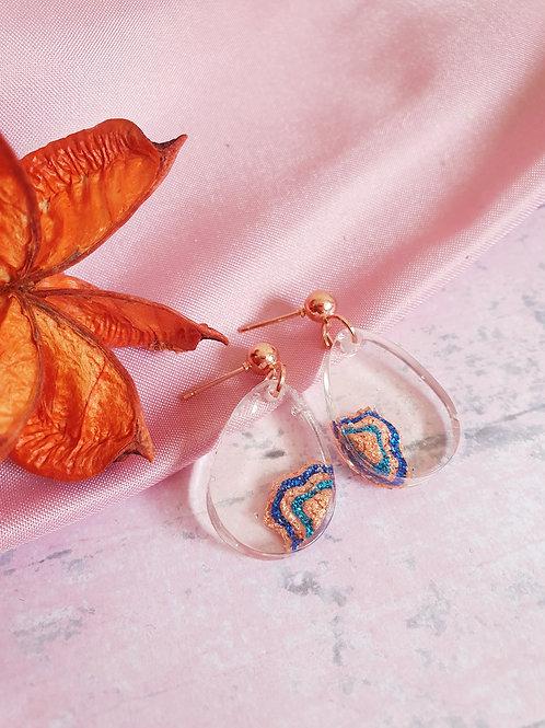 Cascade Dangle Earrings - rose gold details